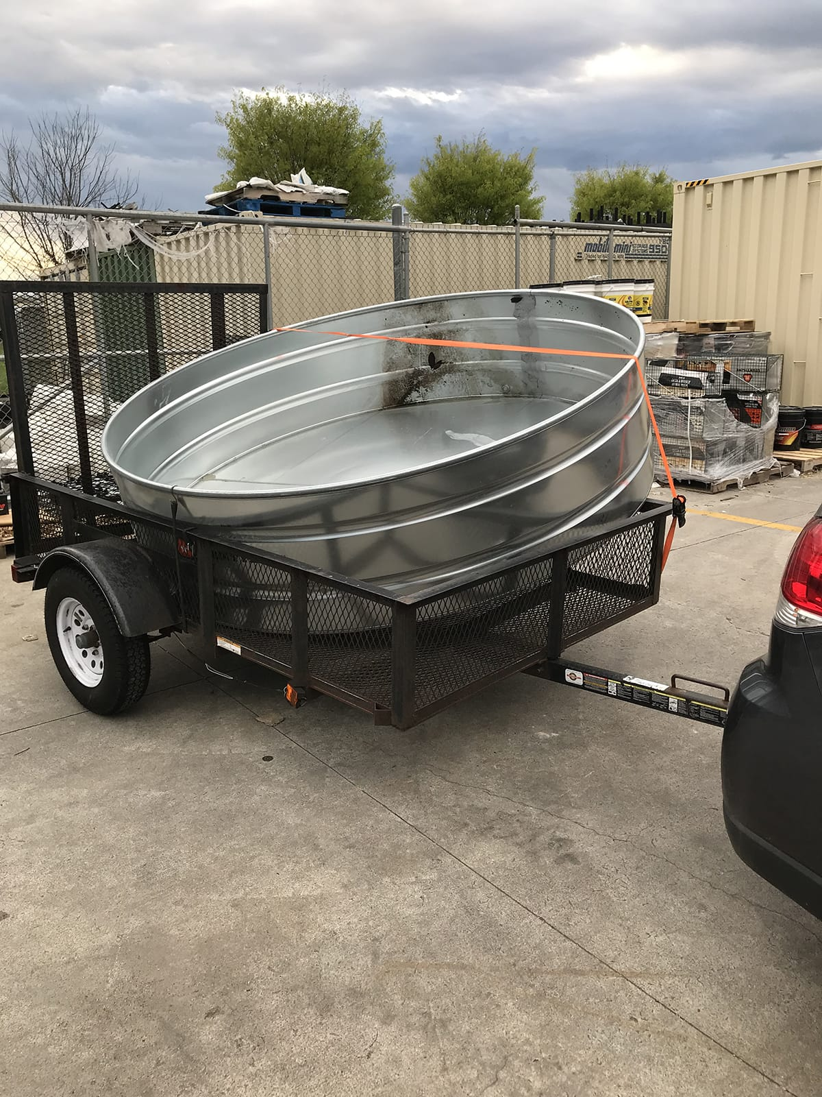 how to bring a stock tank pool home