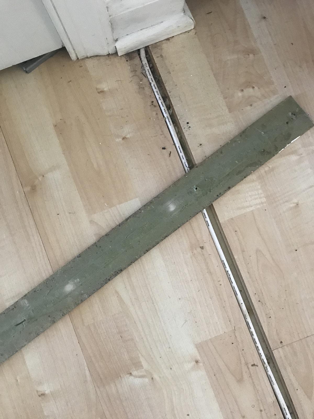 yucky laminate before installing vinyl wood plank flooring