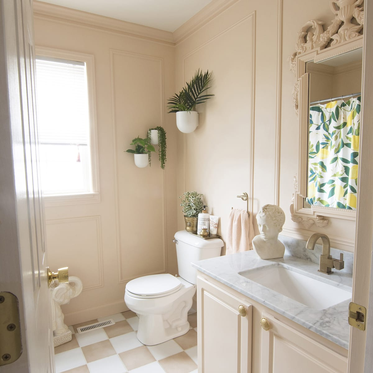 Blush and Marble, Vintage Inspired Budget Bathroom Remodel