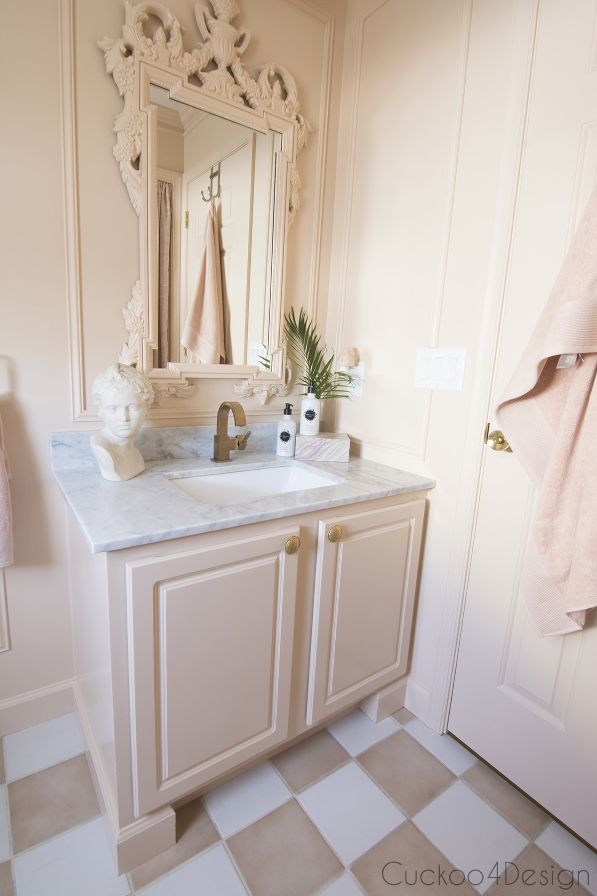 beautiful shade of blush in vintage inspired budget bathroom remodel