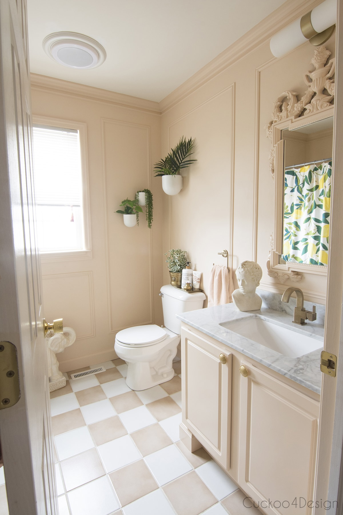 our blush and ivory bathroom
