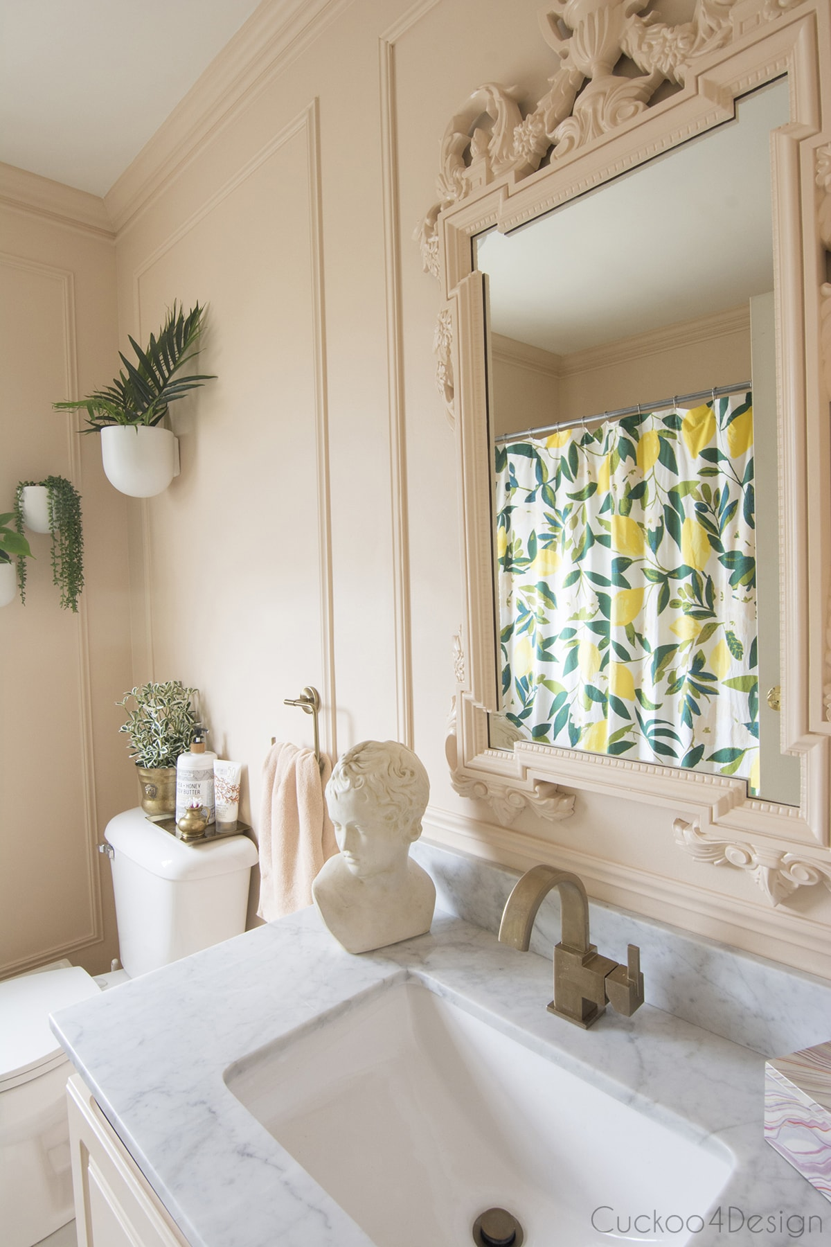 shower curtains with lemons in blush budget bathroom remodel