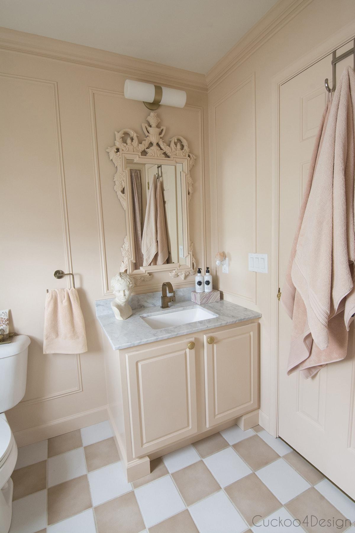 tone on tone budget bathroom remodel