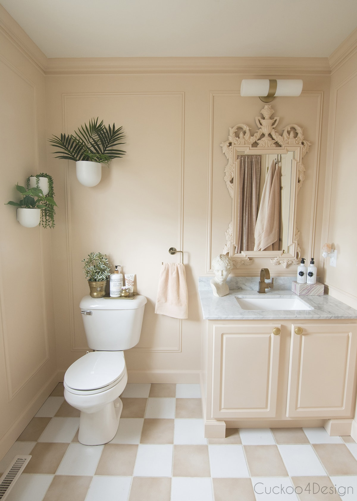 blush budget bathroom remodel with modern accents