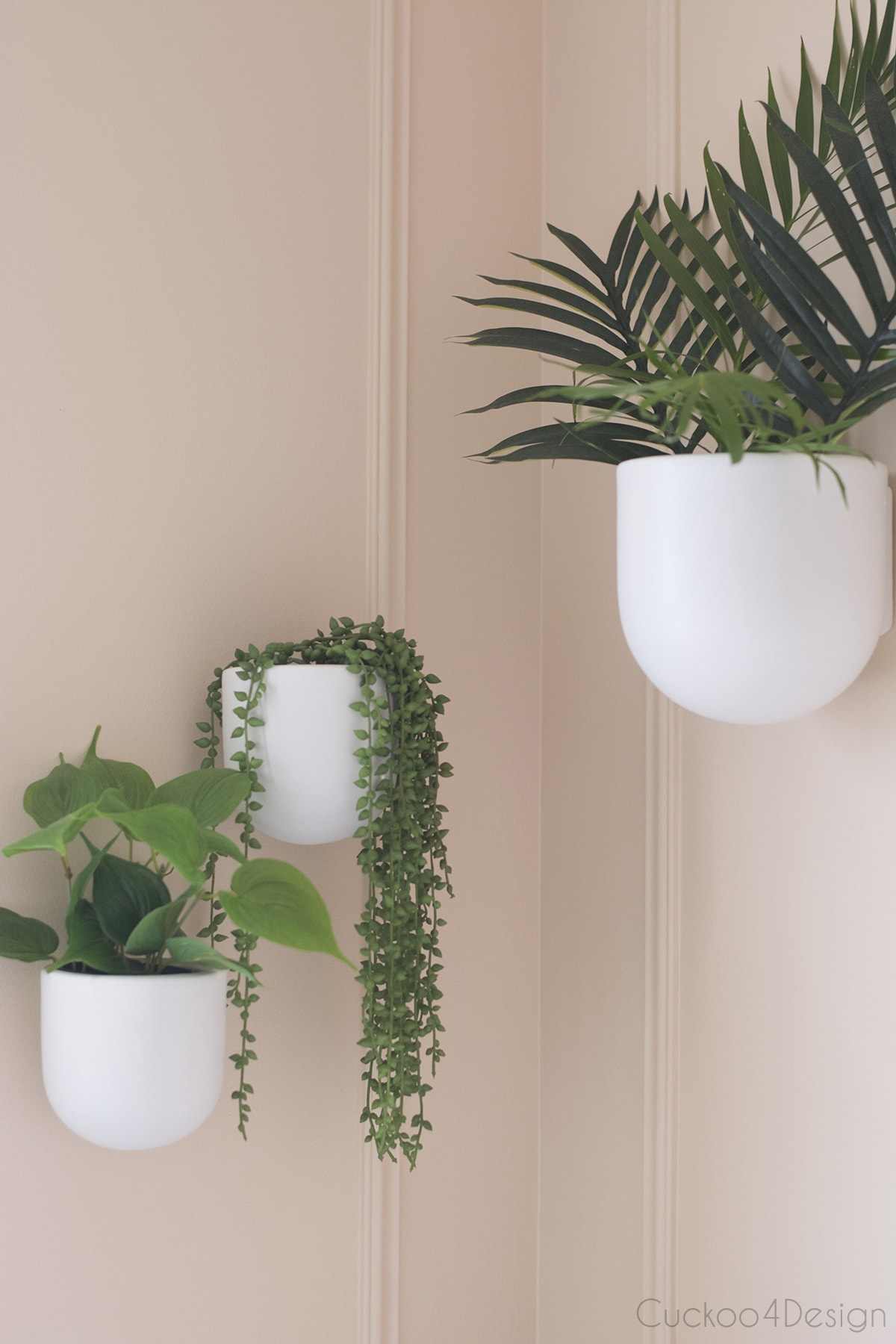 faux plant wall planters in bathroom