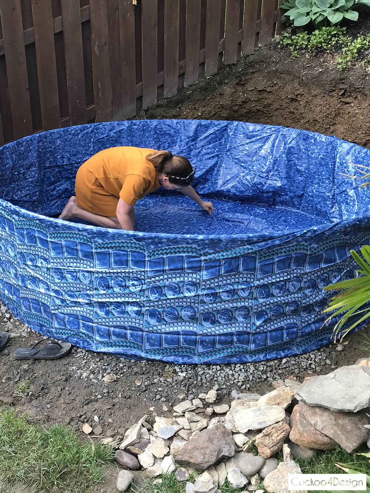 adding a liner to a stock tank swimming pool