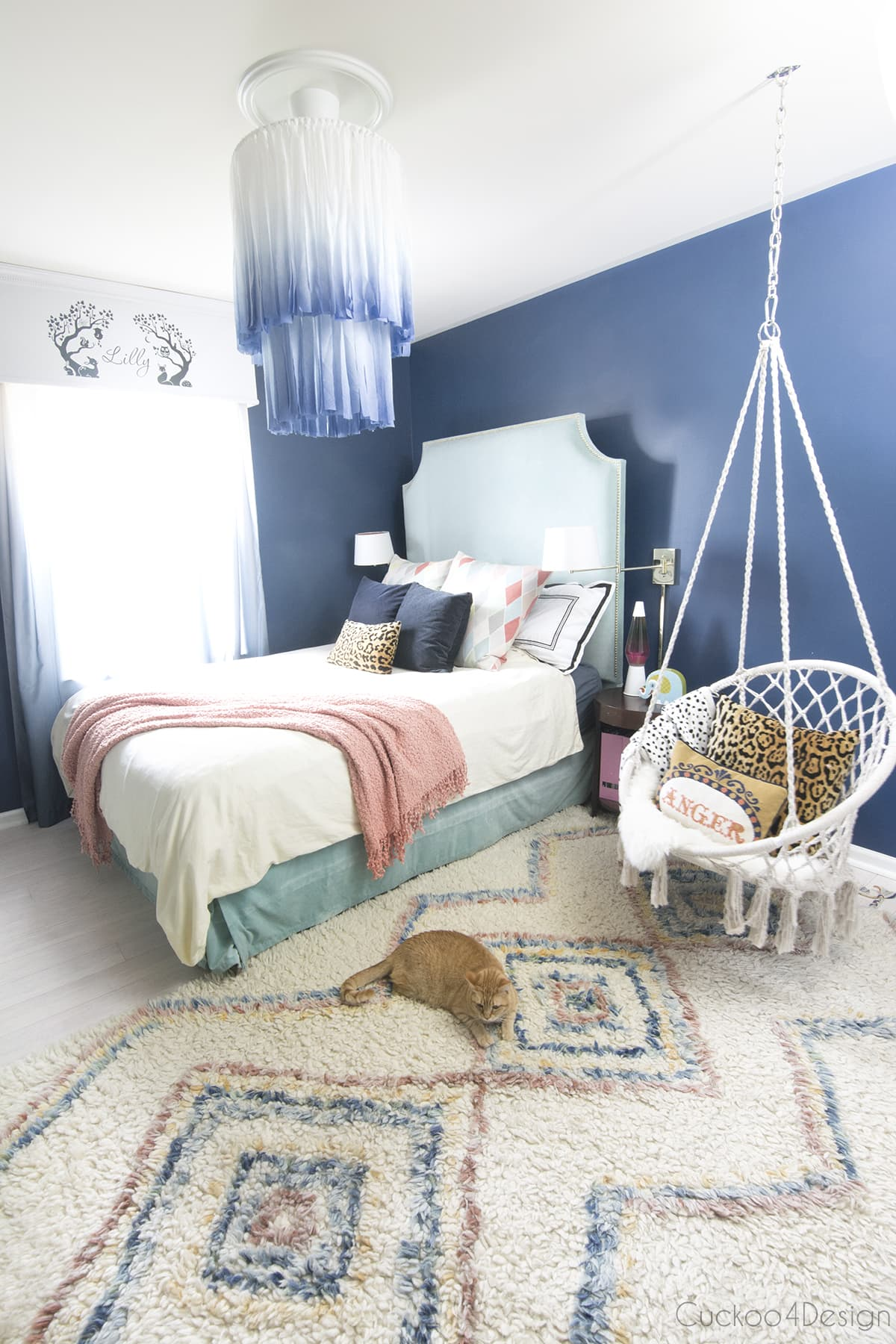 fabric dyed white and blue chandelier from Ikea