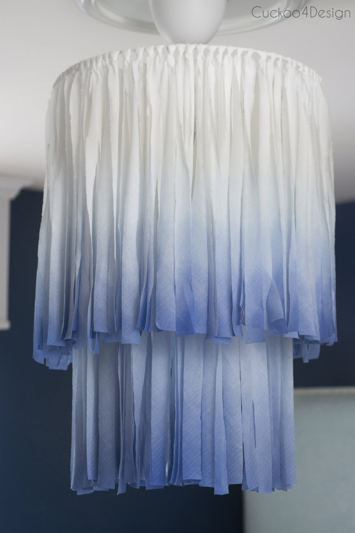 cascading white and blue chandelier