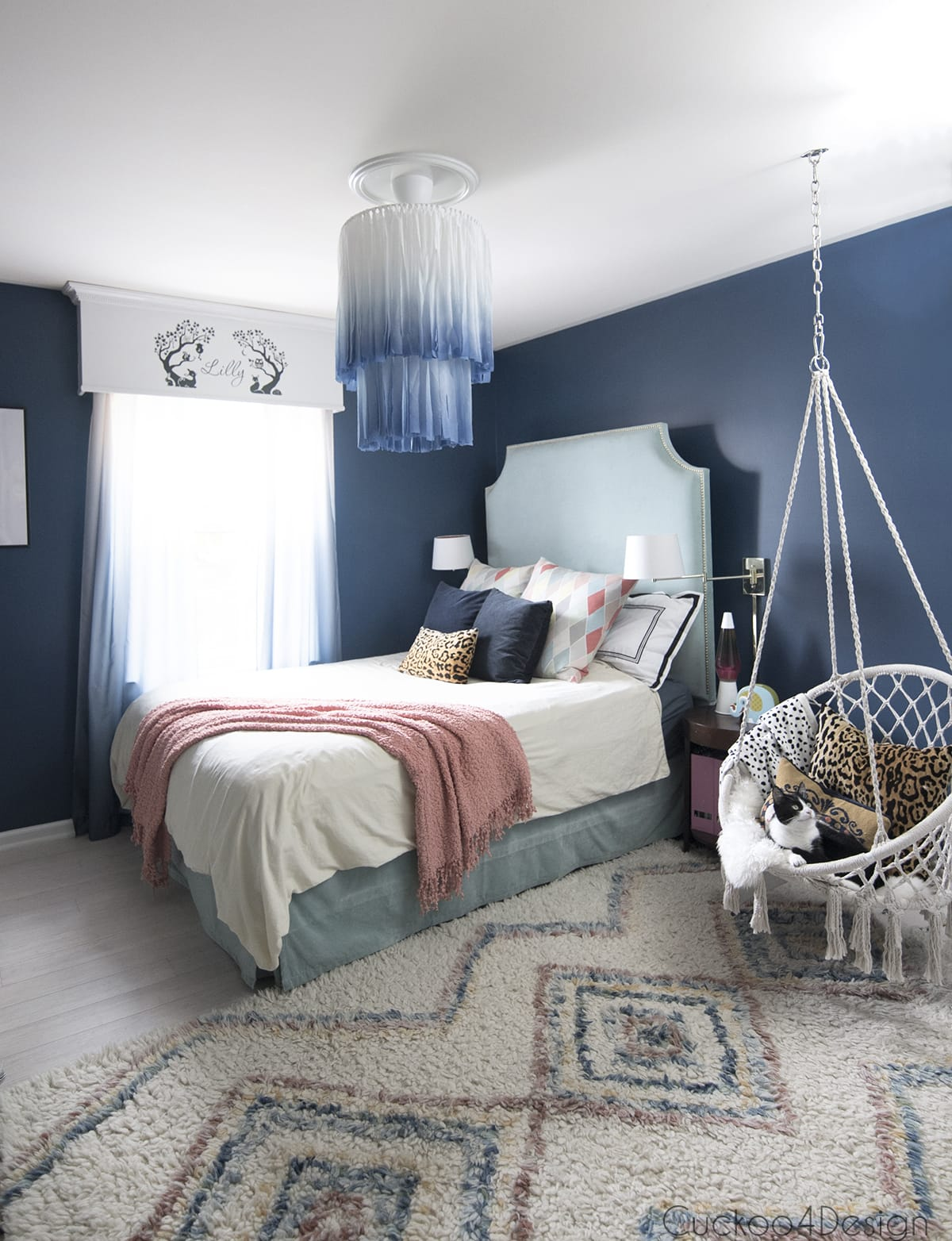indigo white and blue chandelier in girls bedroom