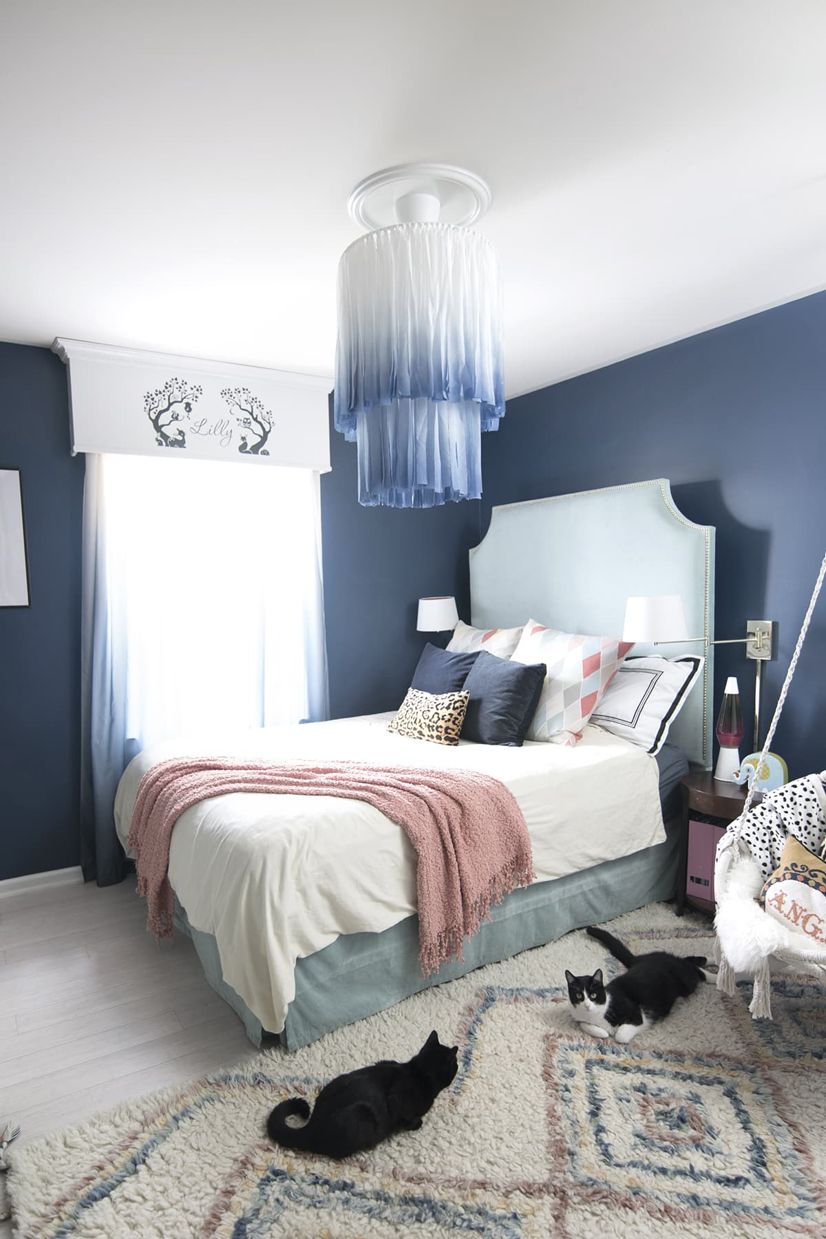 macrame white and blue chandelier in bedroom