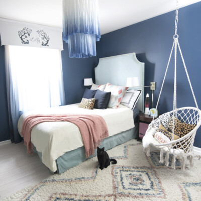 The perfect white and blue chandelier for our daughter's bedroom