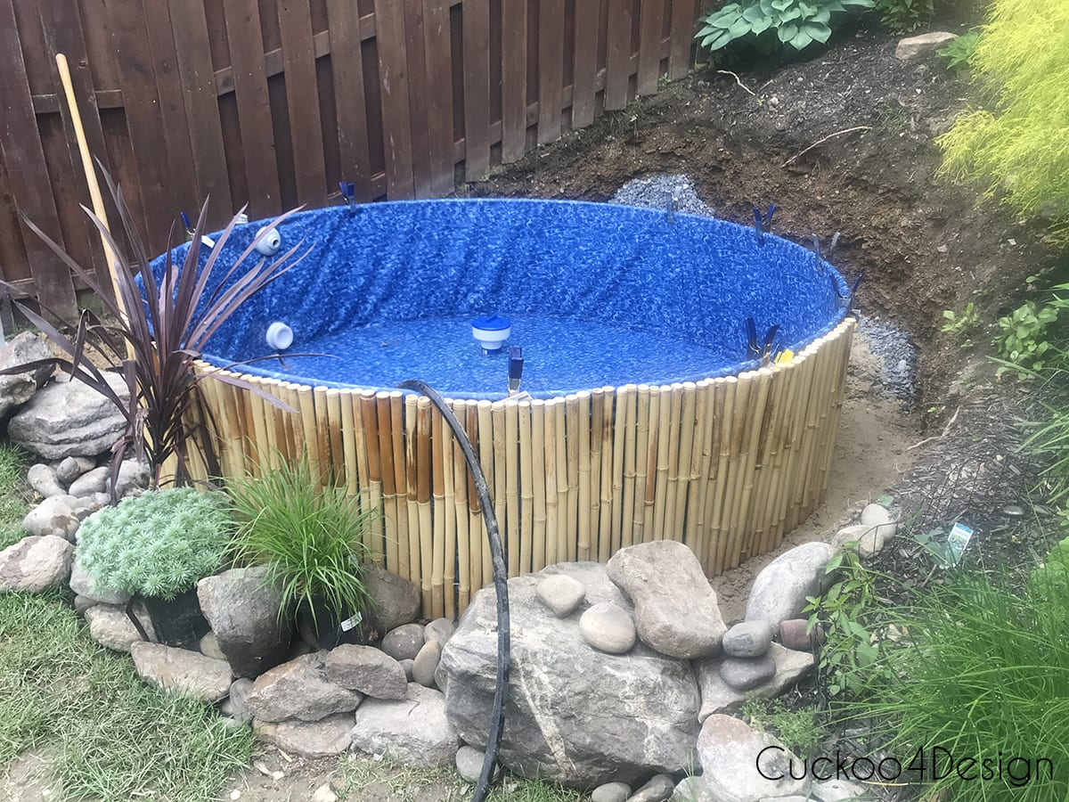 adding bamboo around a stock tank swimming pool