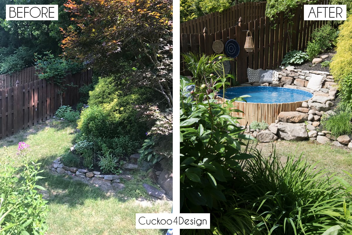 before and after of landscaping stock tank swimming pool