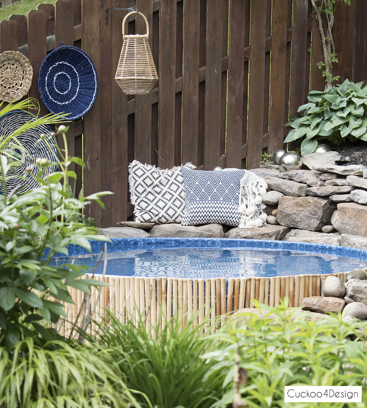 chill boho seating area around our stock tank swimming pool