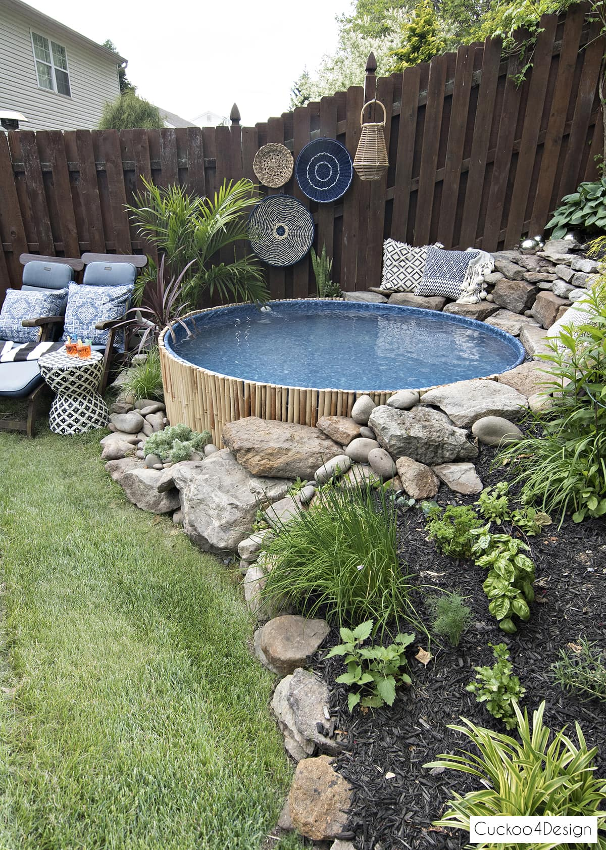small yard landscaping with pool
