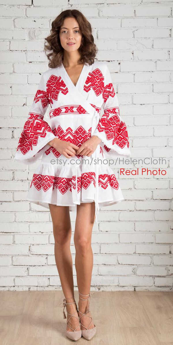 red and white Russian embroidered summer tunic dress