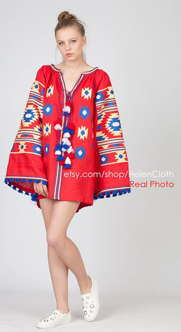 colorful Russian embroidered summer tunic dress