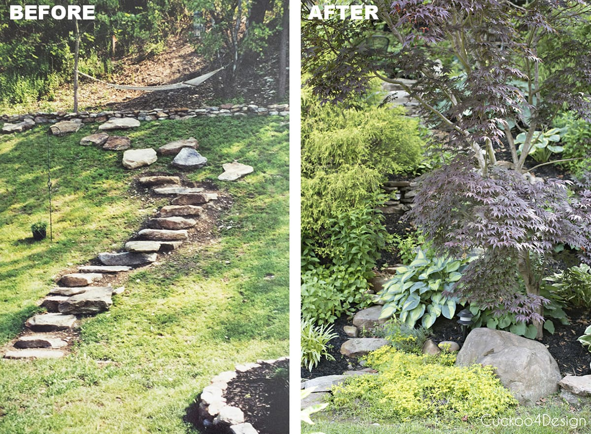 before and after of our small yard landscaping
