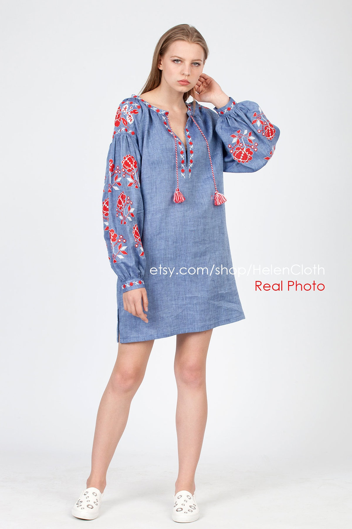 blue and red embroidered tunic dress