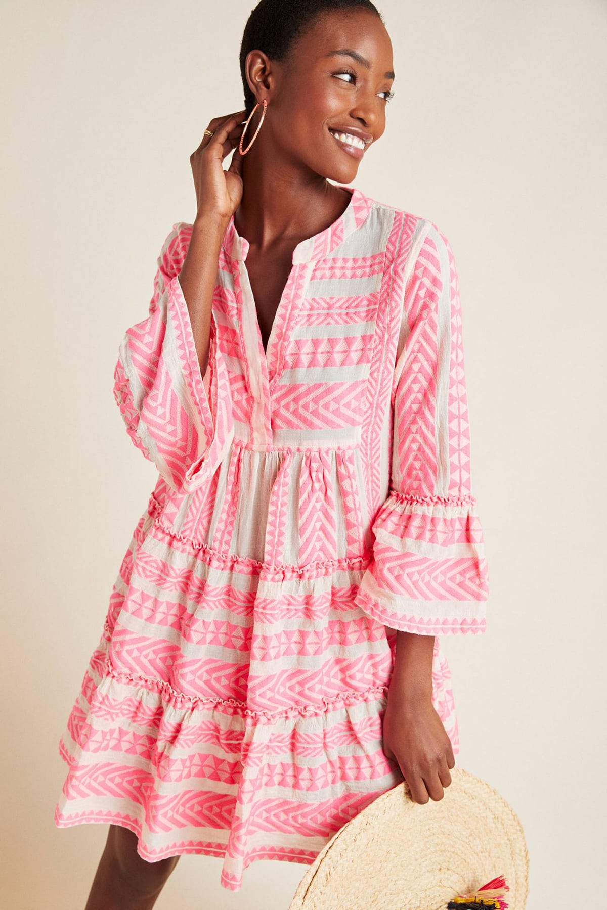 pink and cream Devotion Twins summer tunic dress