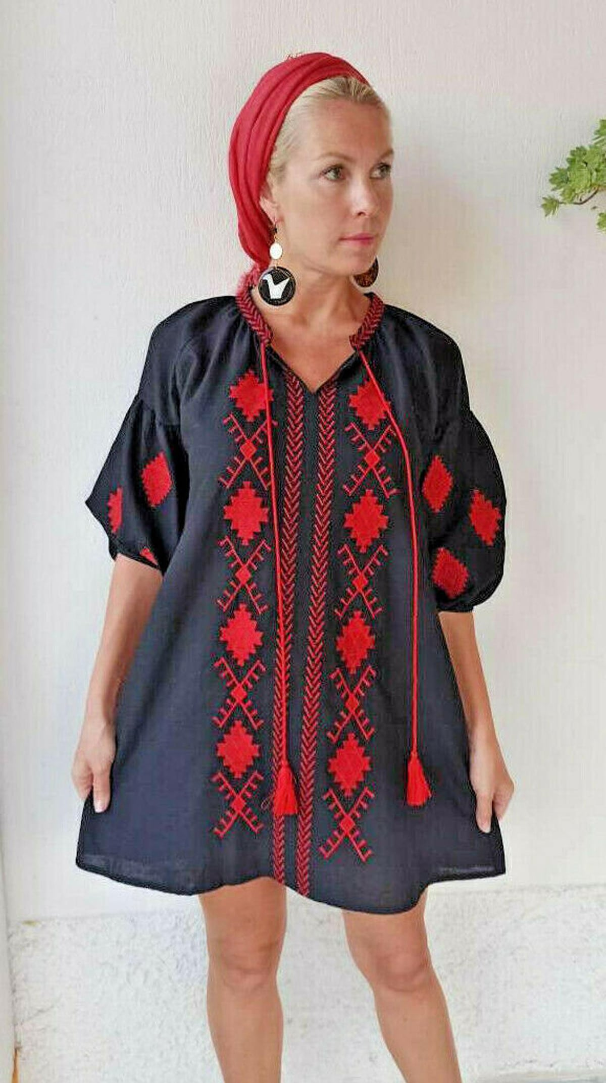 red and gray greek linen tunic dress