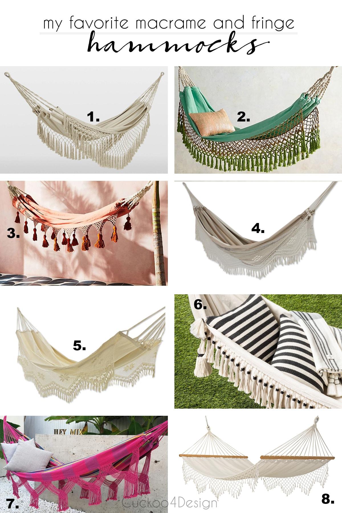 my favorite macrame and fringe hammocks