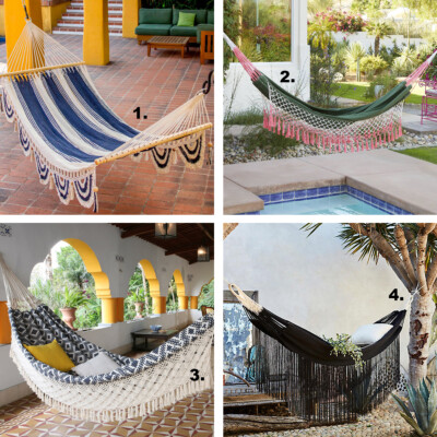 macrame and fringe hammocks