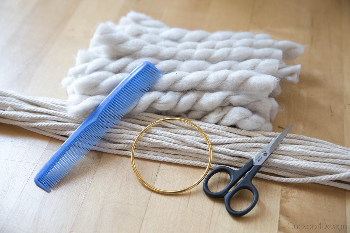 supplies needed for wool and yarn macrame wreath