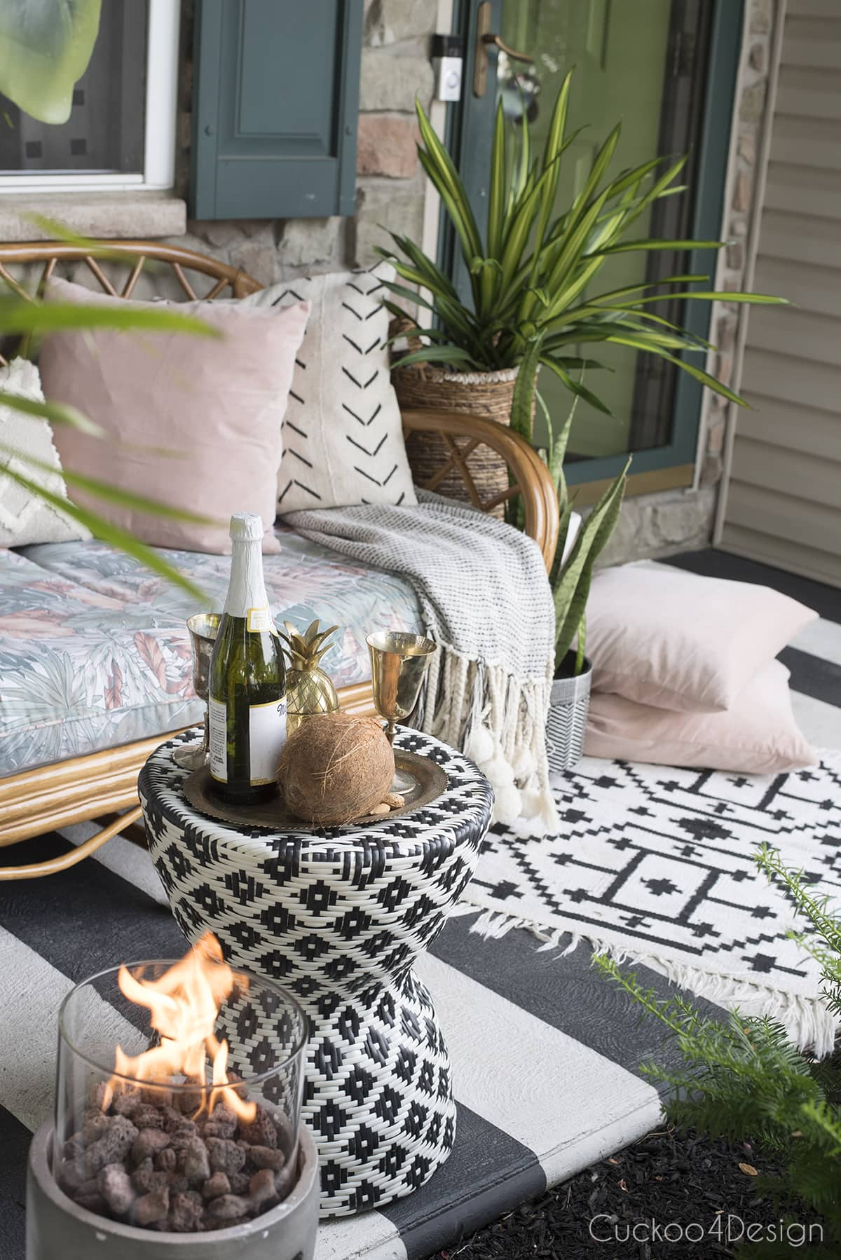 front porch styling with rattan sofa