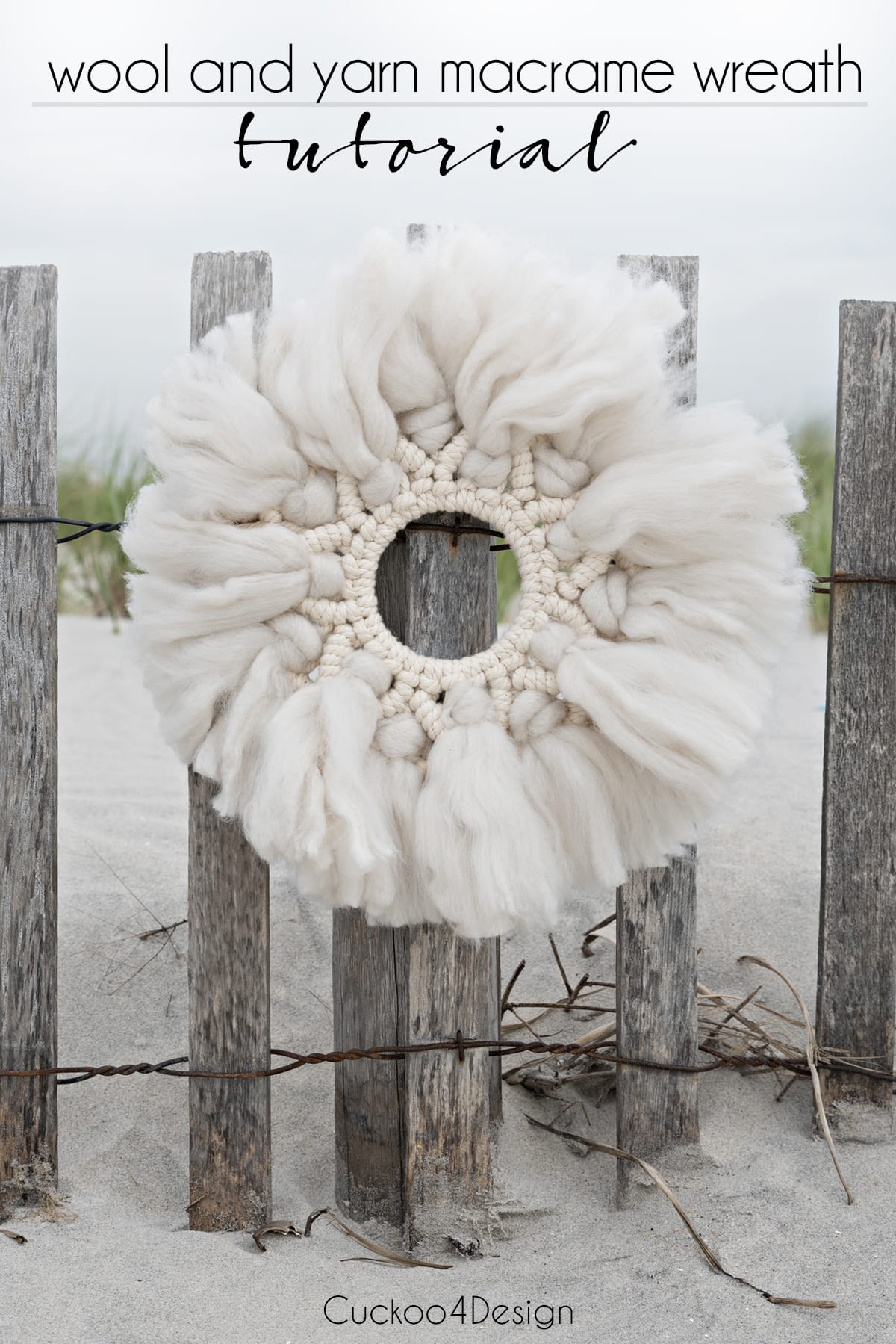 wool and yarn macrame wreath tutorial with video instructions