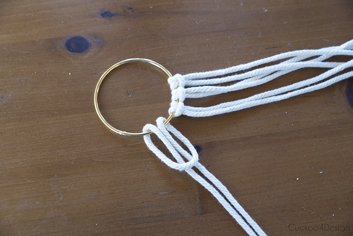 starting a macrame wreath with a brass ring