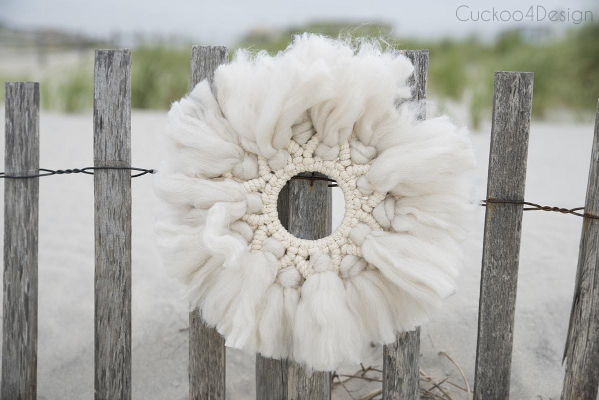 easy wool and yarn macrame wreath tutorial