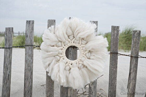 Wool and yarn macrame wreath tutorial