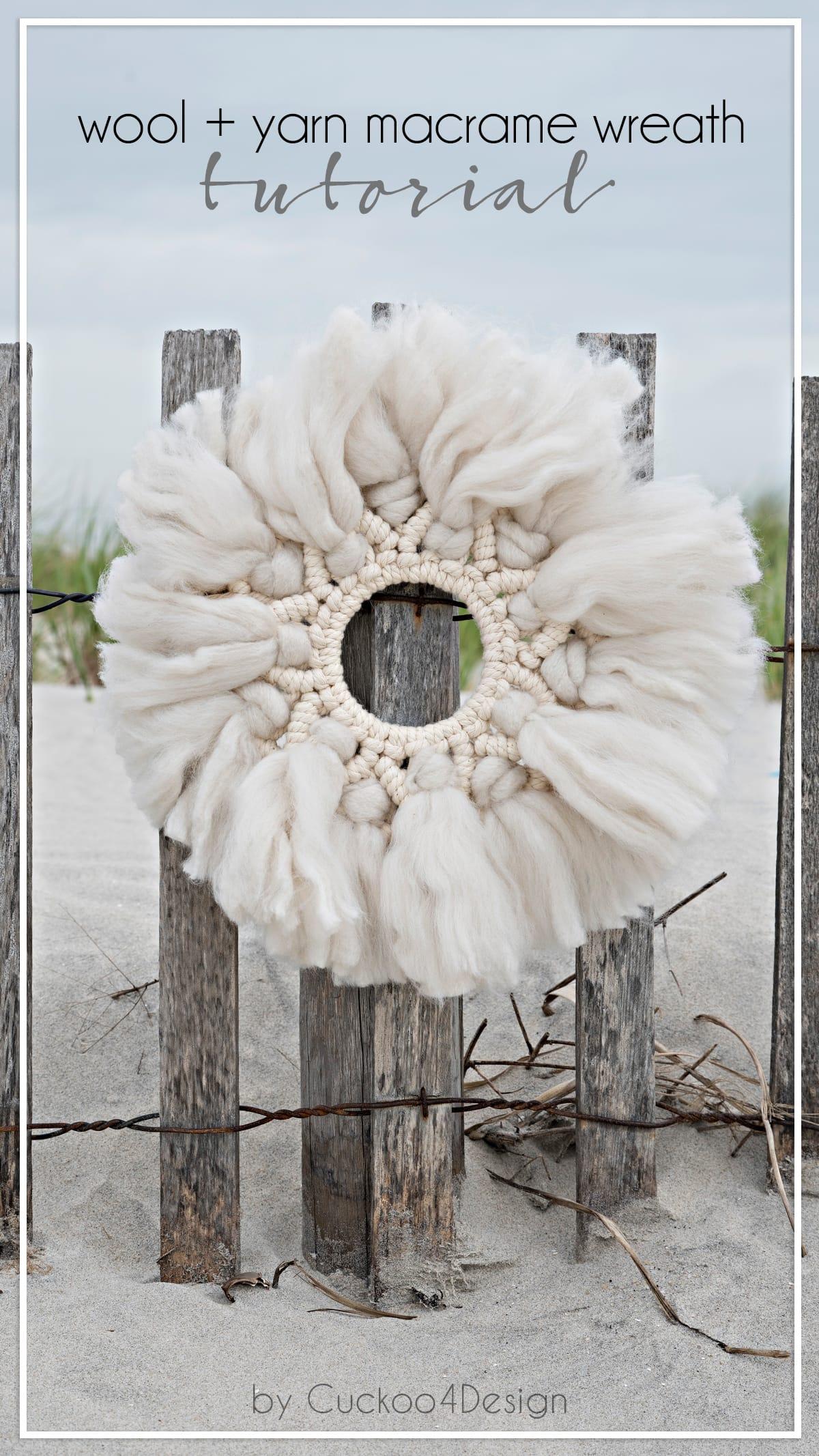DIY wool and yarn macrame wreath tutorial