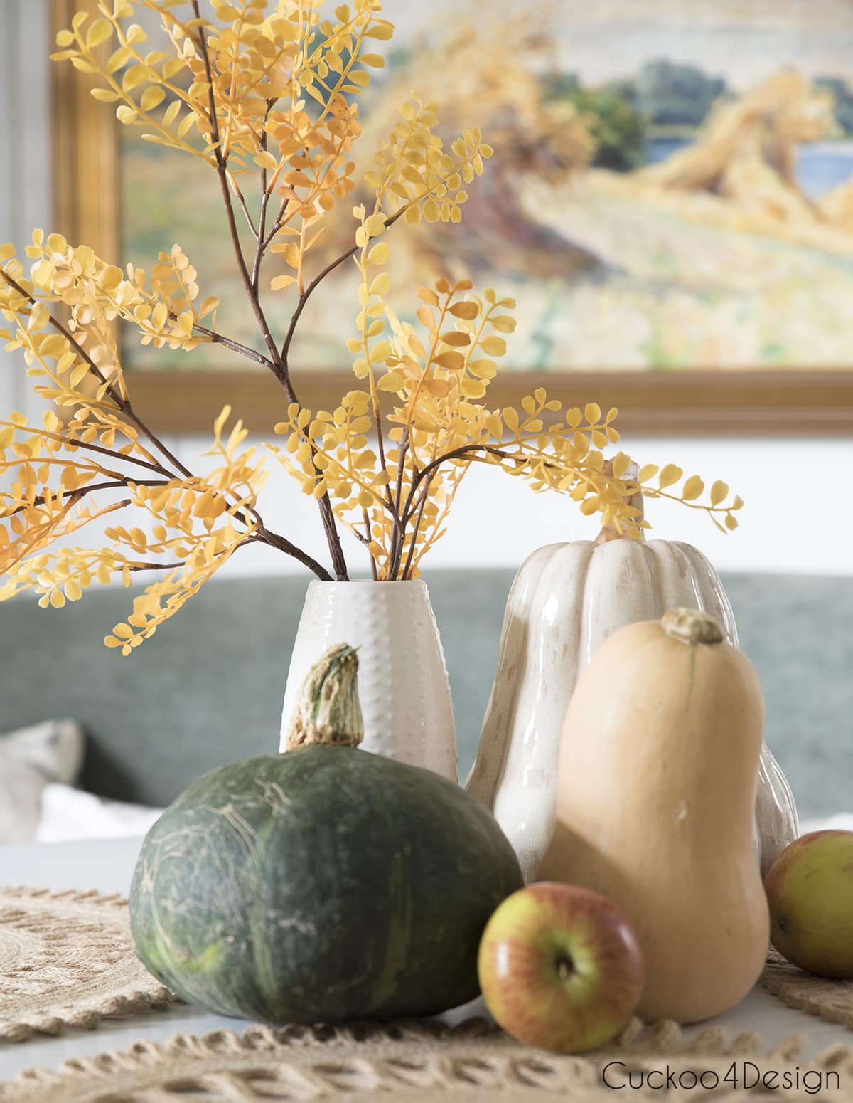 fall vignette with family heirloom painting