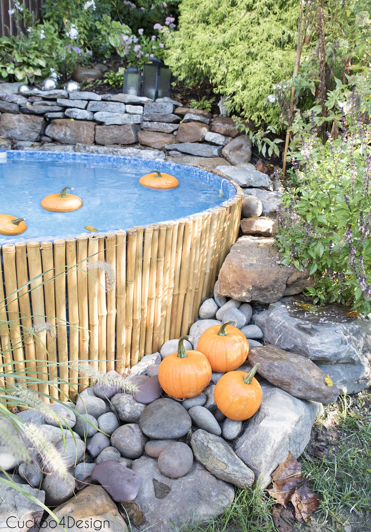 floating pumpkins in stock tank pool