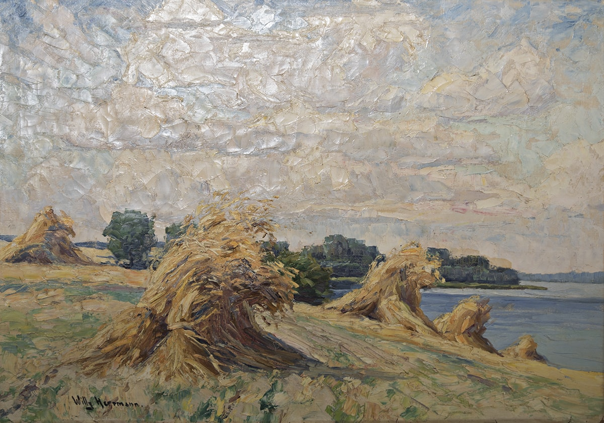 family heirloom painting of cornfields by Willy Hermann