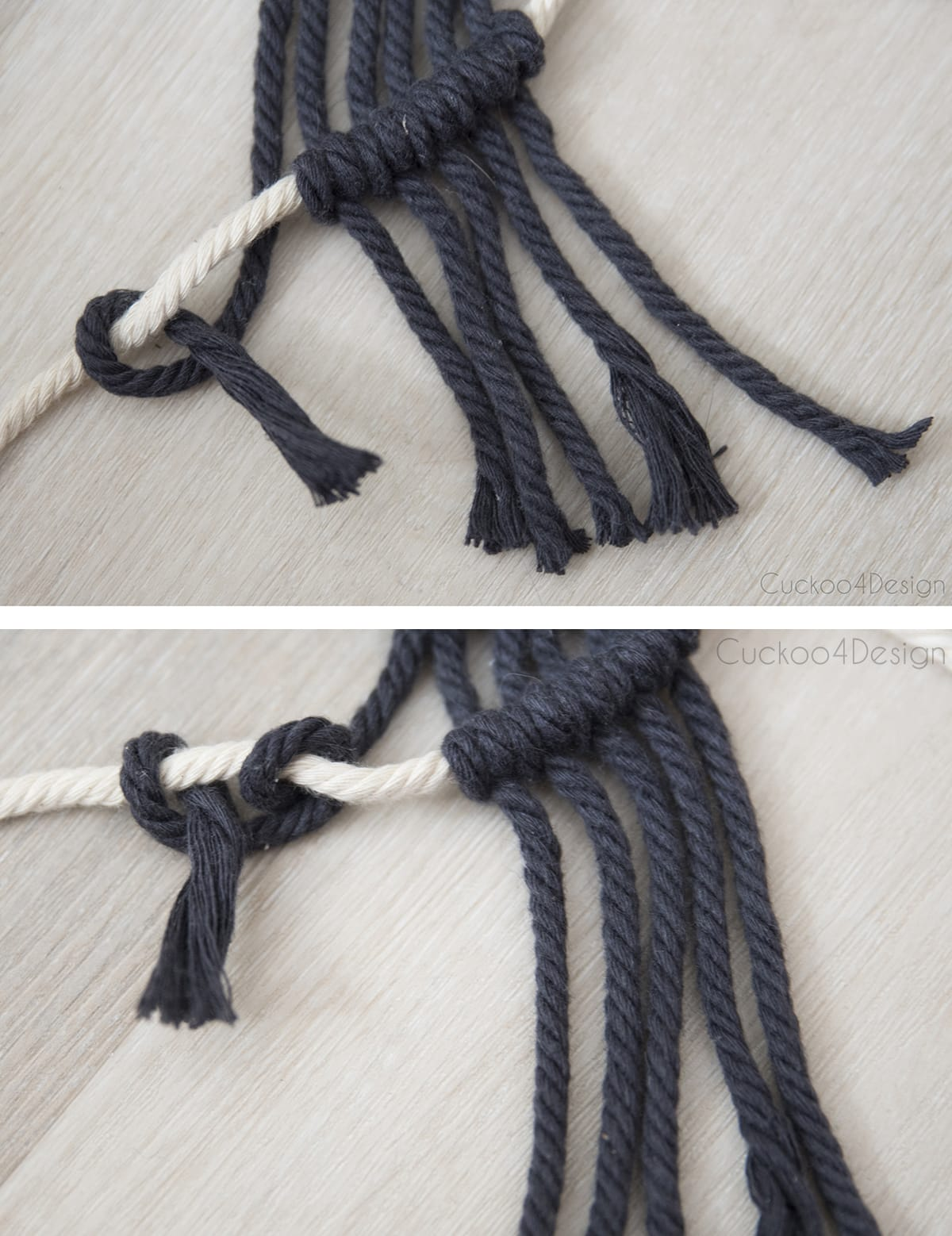 how to make a macrame half hitch knot