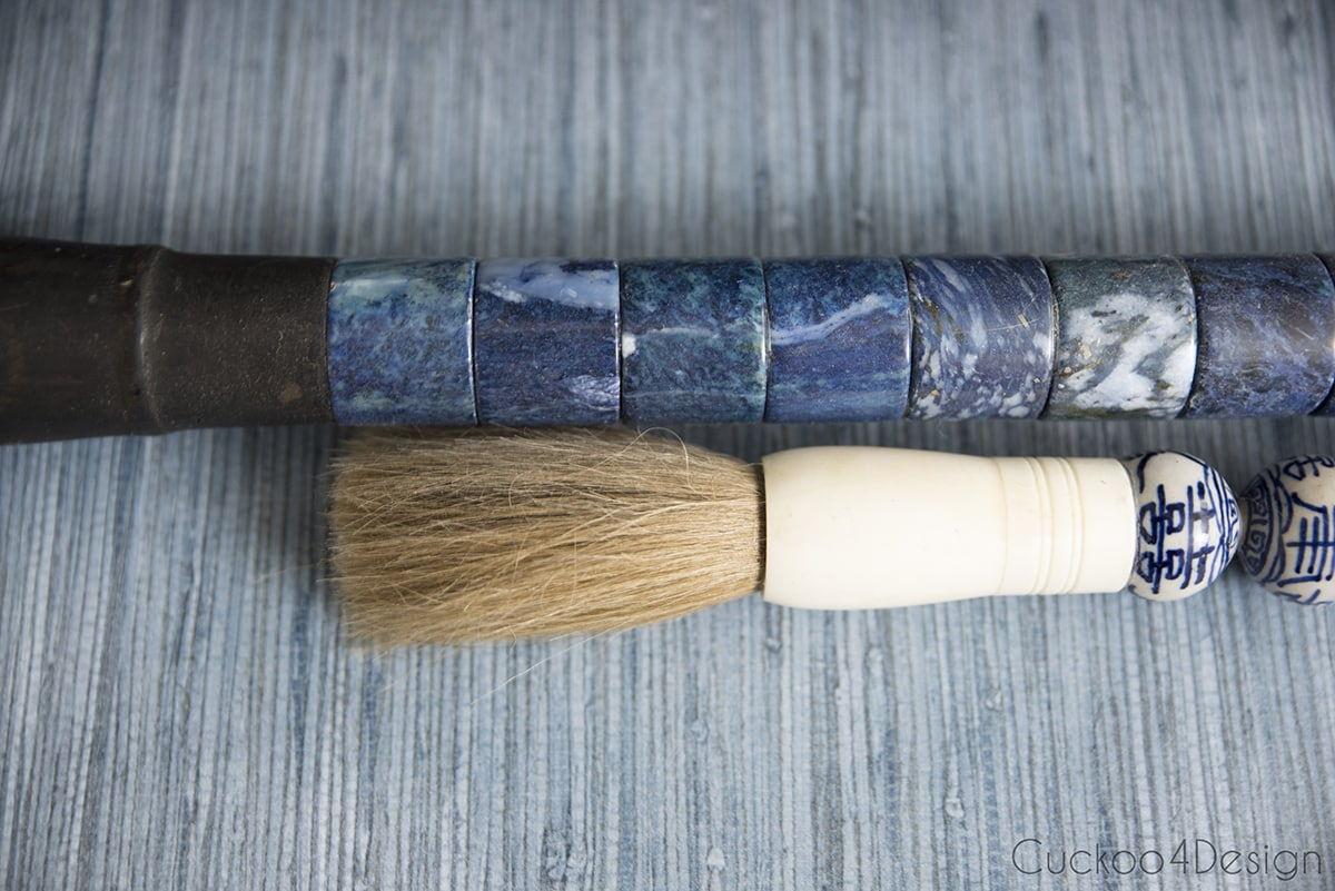 blue Chinese calligraphy brushes