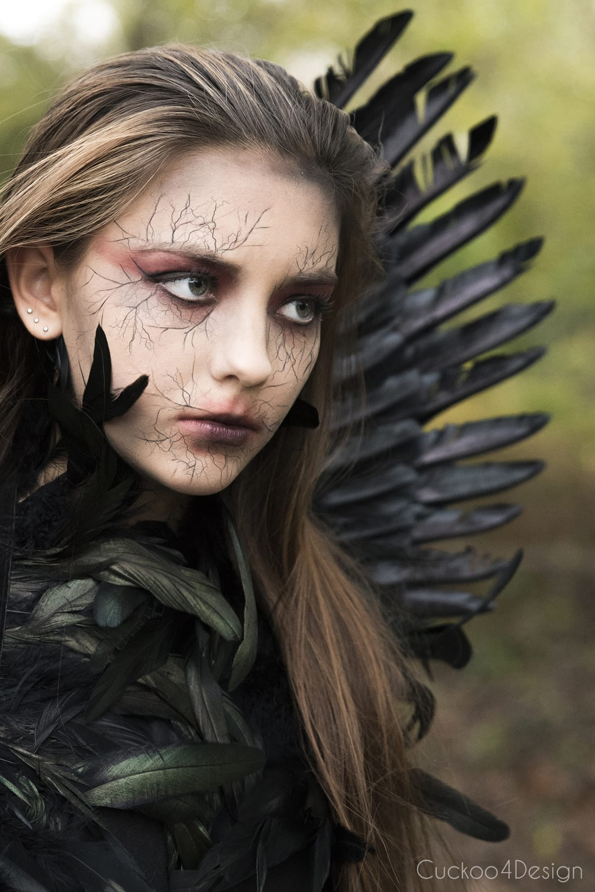 black or dark angel costume with wings