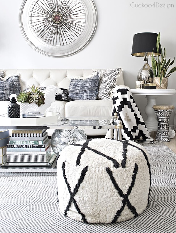 black and white living room pouf