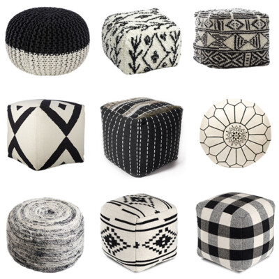 neutral living room poufs