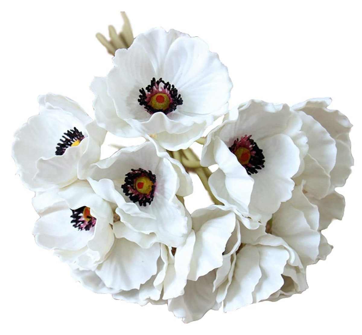 white faux poppy flowers used for Christmas rose DIY
