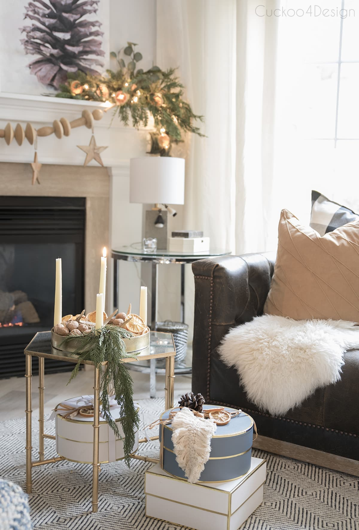 natural and neutral fireplace decor