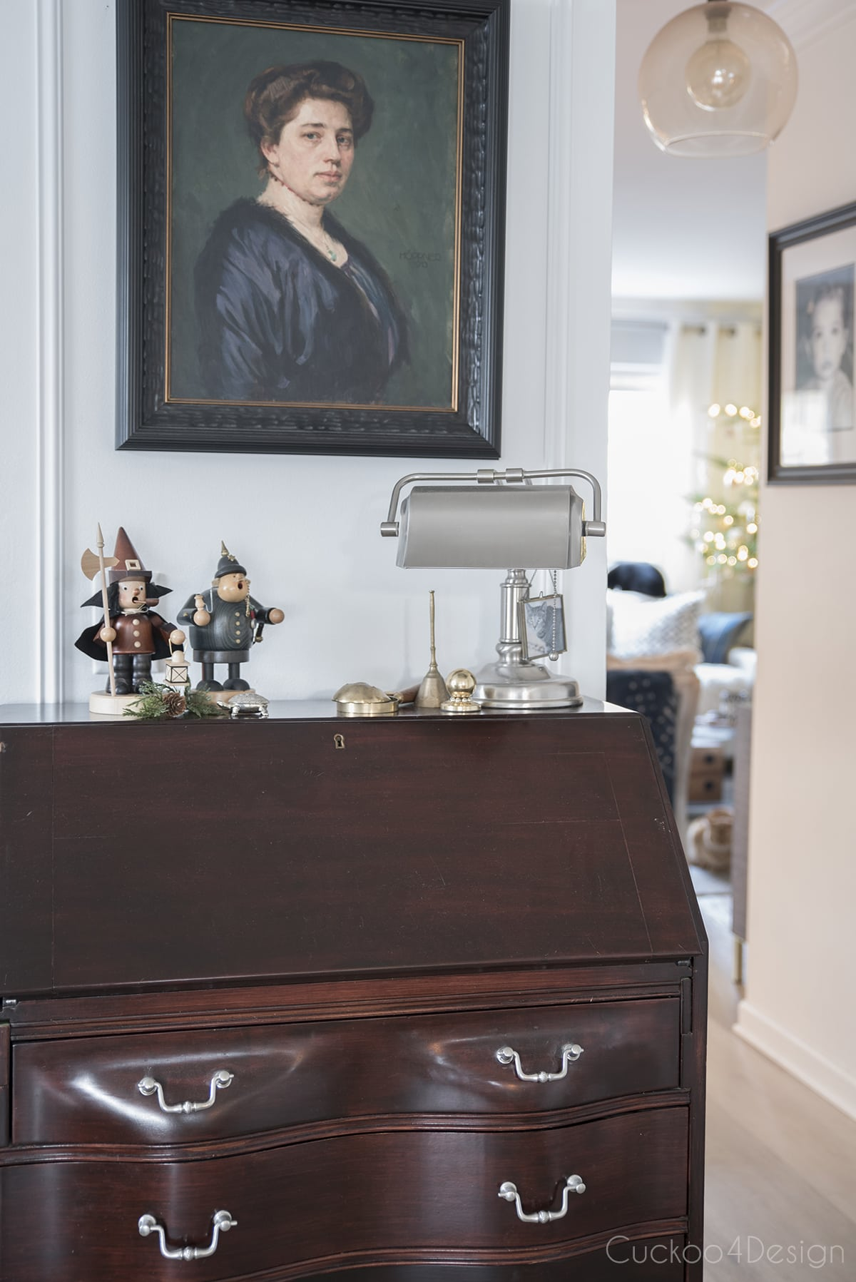 Queen Anne desk with ancestor painting