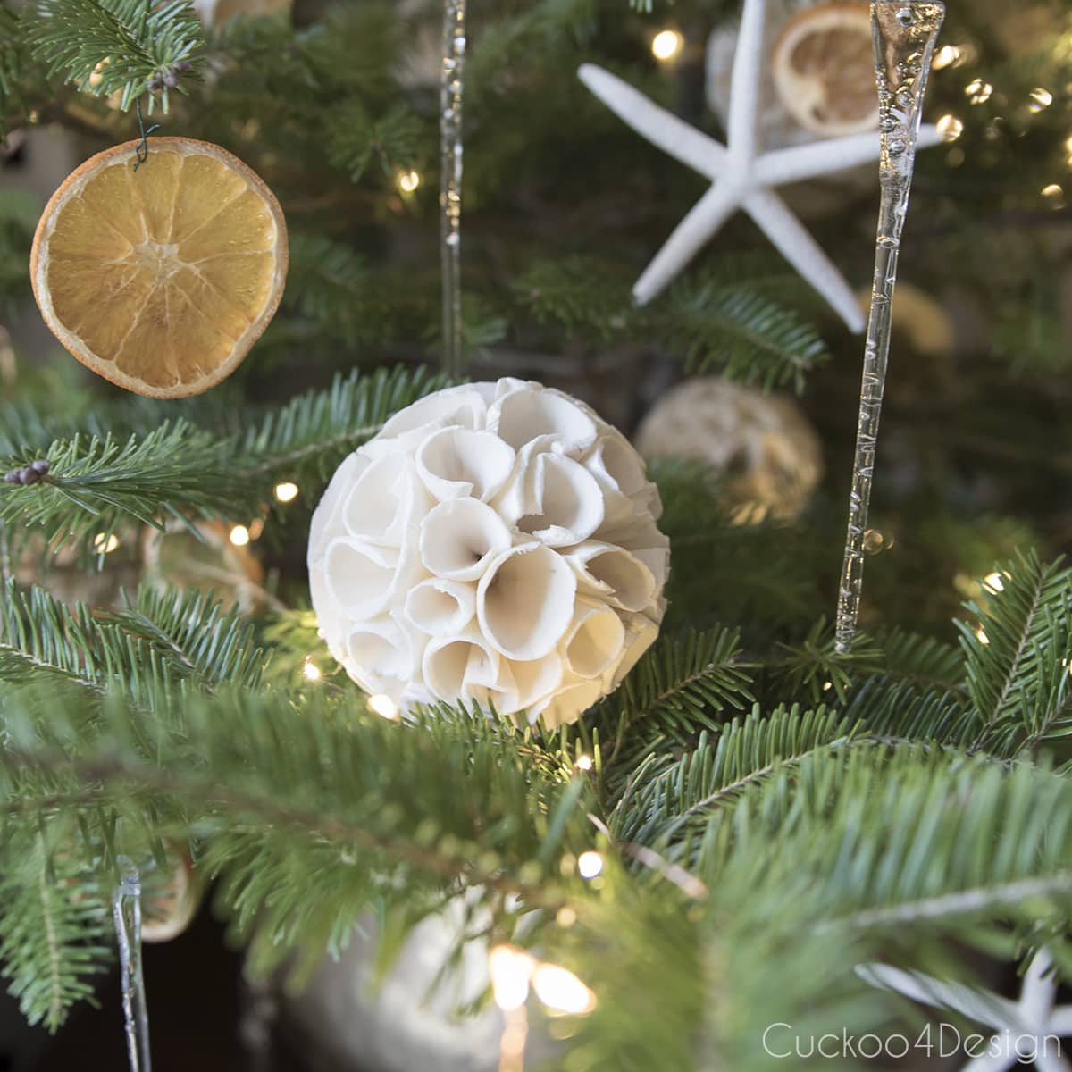 using natural paper sphere vase fillers as Christmas ornaments