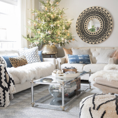 Our large live tabletop Christmas tree and home tour