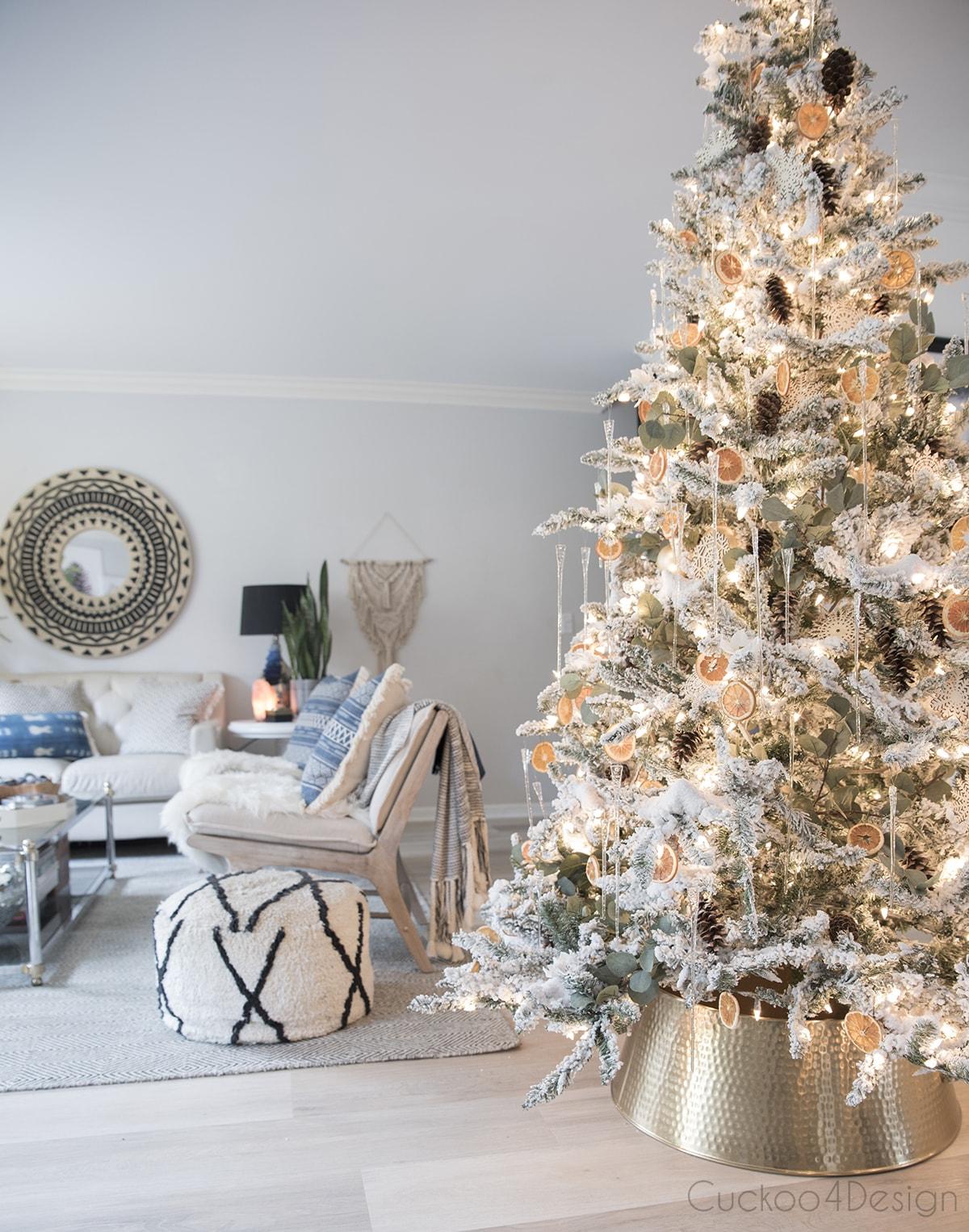 view of German Christmas tree facing the living room