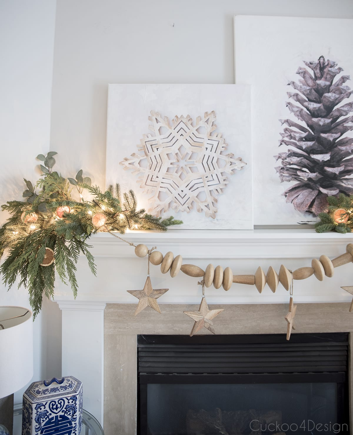 wooden snowflake and pinecone Christmas canvas paintings