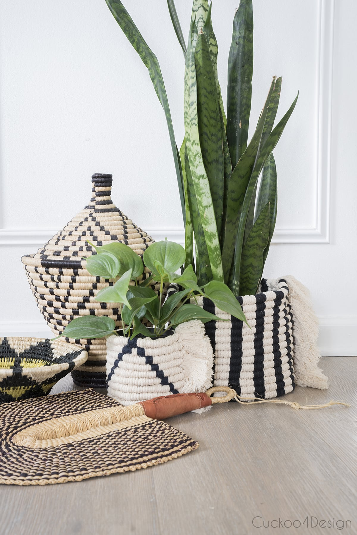macrame planters inspired by African Wolof baskets